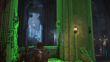 A screenshot of a Gears game with Project Acoustics 3D mesh formed on the environment