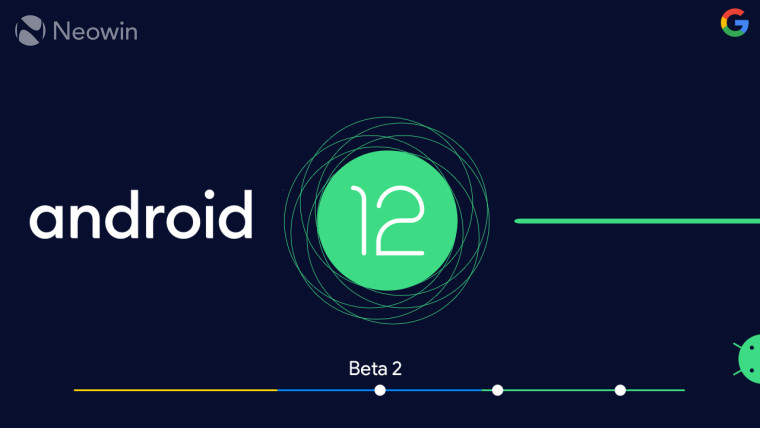 Android 12 logo with Beta 2 written next to it on a blue colored line