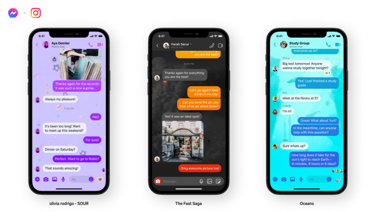 Three new chat themes for Facebook Messenger shown on three phones placed next to each other
