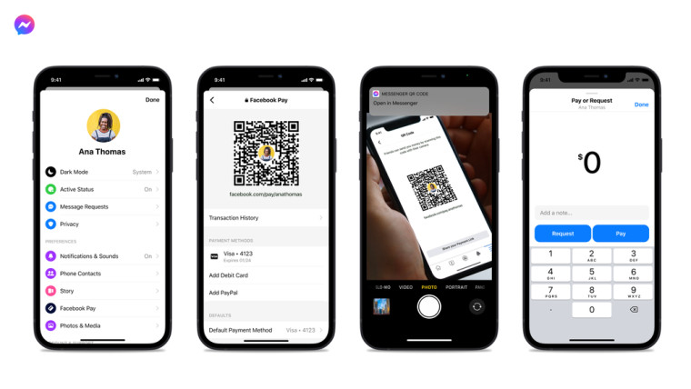 Facebook Pay features for sharing QR code on Messenger