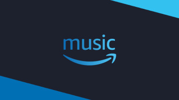 The Amazon Music logo on a grey and blue background
