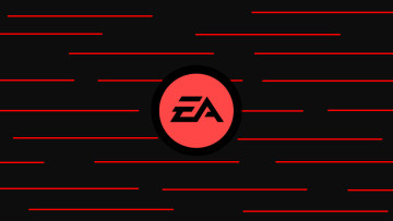 Electronic Arts logo with many red lines behind it