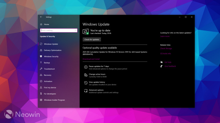 Windows Udpate screen showing an optional update for Windows 10 build 190431055