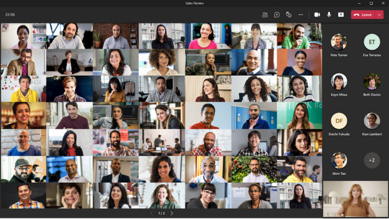 A Teams meeting with attendees placed in a 7x7 grid on the first page of the call