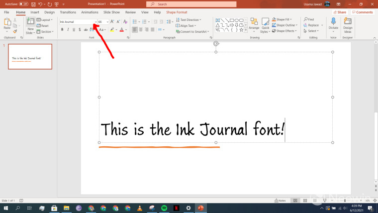 A PowerPoint slide with Ink Journal font