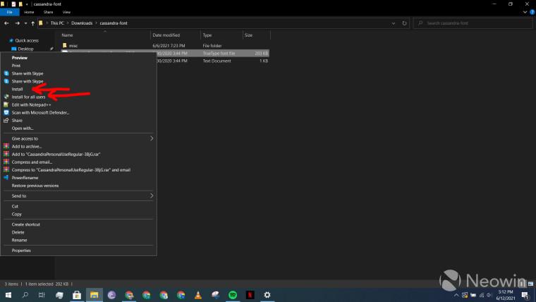 A screenshot showing the context menu of a custom font file