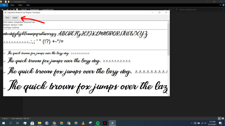 A dedicated font editor open on Windows 10