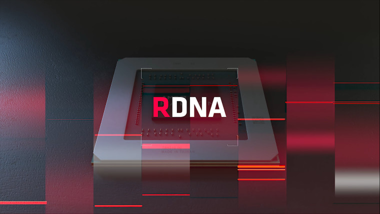 Graphic showing AMD RDNA logo with a GPU chip on the background