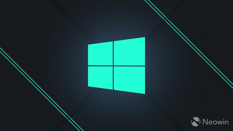 Logo Windows bleu-vert sur fond bleu foncé