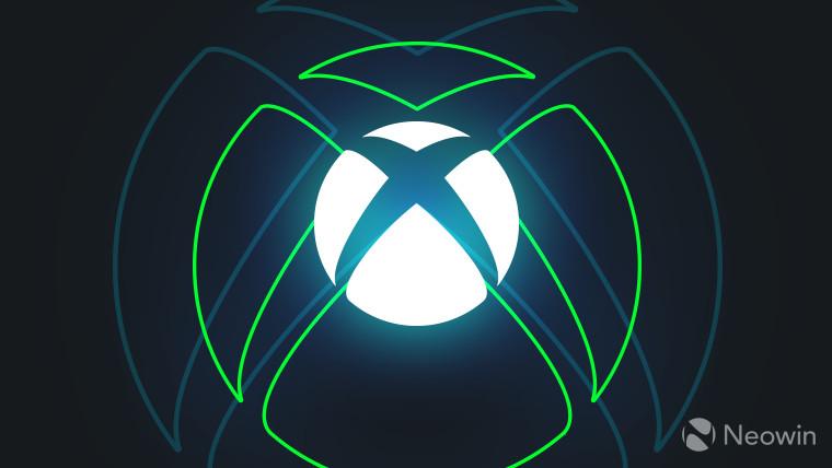 Logo Xbox blanc sur fond bleu foncé avec une lueur extérieure verte