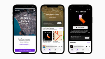 Apple Podcasts Subscriptions and channels displayed on iPhone 12 Pro