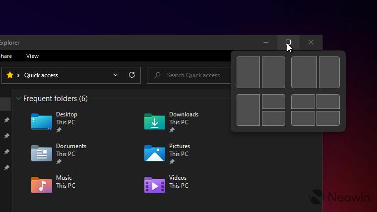 Windows 11 screenshots showing window snapping feature