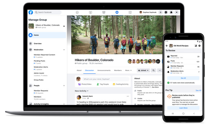 The new Facebook group Admin Home