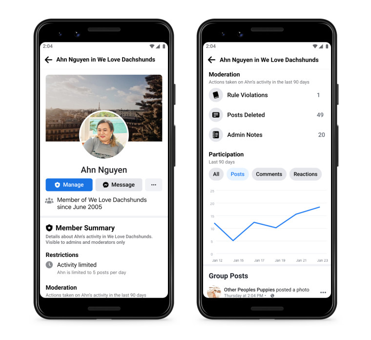 Facebook member summary allows admins to look up a member stats