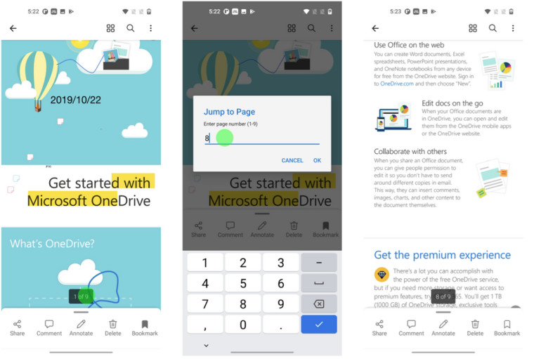 OneDrive for Android PDF jump feature in the PDF reader