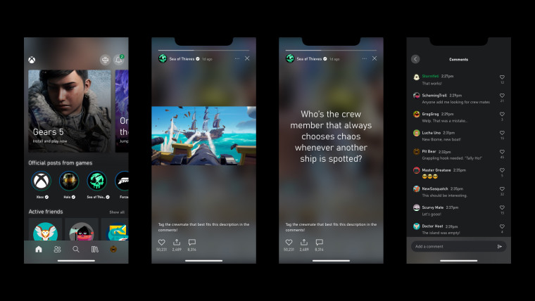 Row of stories from different game brands in the Xbox app