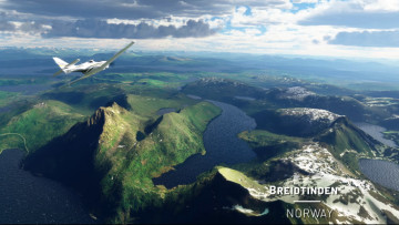 The gorgeous Breidtinden mountains of Norway in MS Flight Simulator