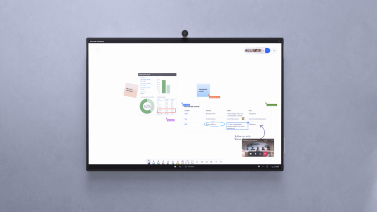 A Surface Hub 2S device mounted to a wall running the Microsoft Whiteboard app