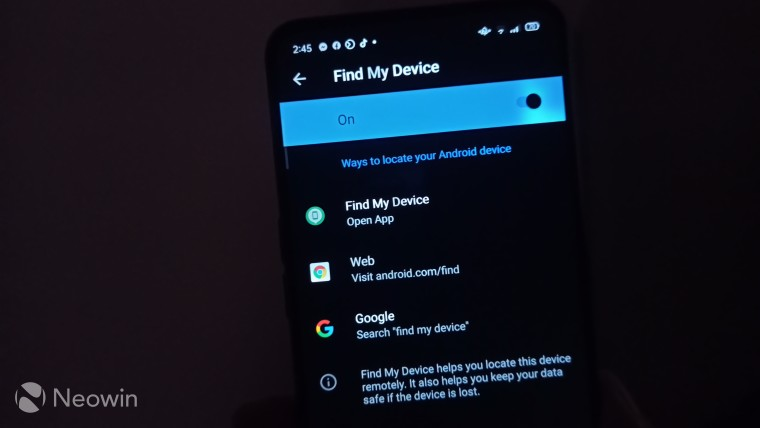 Different ways to locate your device in the settings page of Android Find My Device