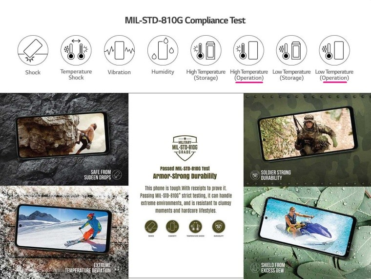 LG smartphone specs page
