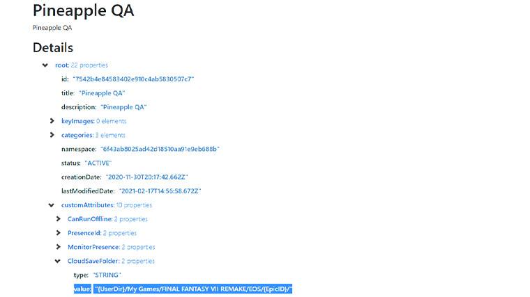 EpicData page of leaked string Final Fantasy VII Remake