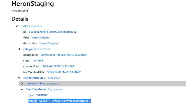 EpicData page of Alan Wake Remastered leaked string