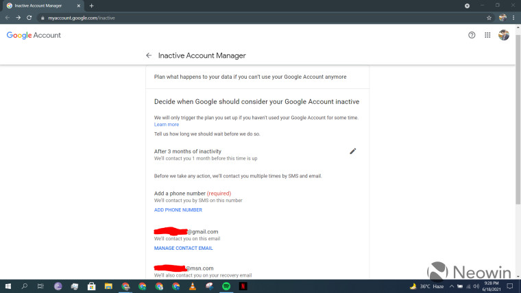A screenshot of the setup page for Google Inactive Account Manager