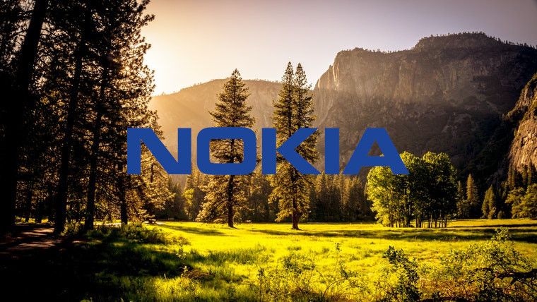 The Nokia logo in front of trees