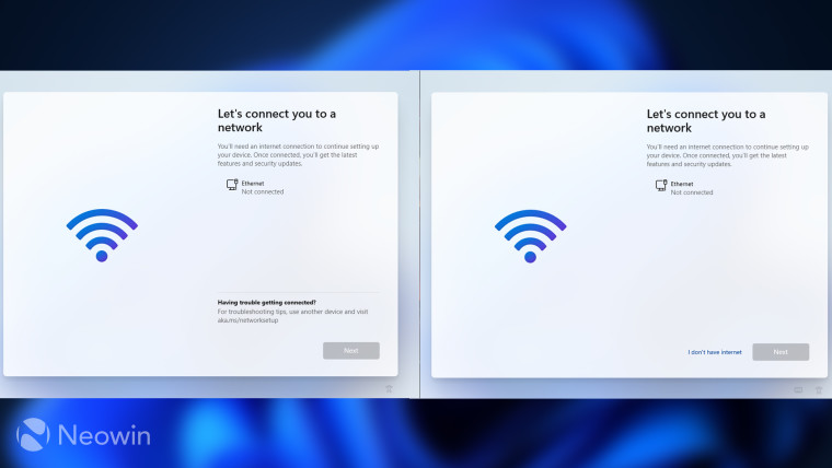 Windows 11 Home and Pro OOBE screens for connecting to internet shown side by side
