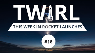 The TWIRL logo in front of a Falcon 9 launch