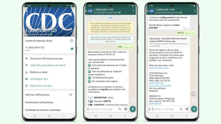 The CDC vaccine tool on WhatsApp