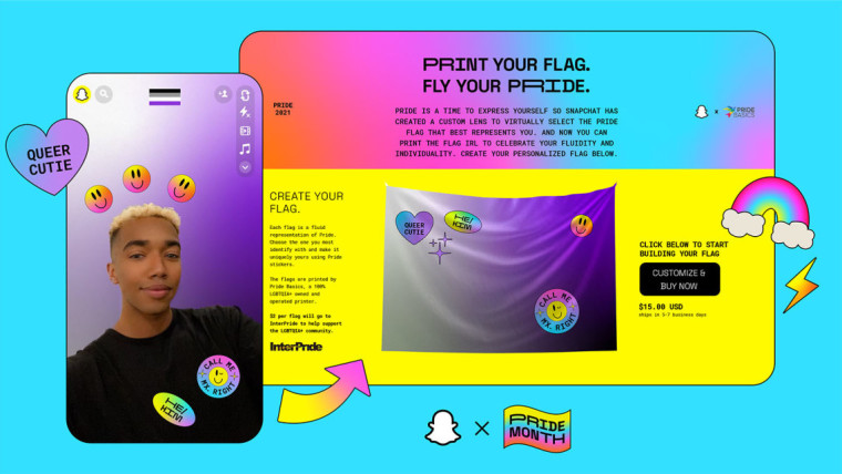 Pride flag and filters graphic from Snapchat