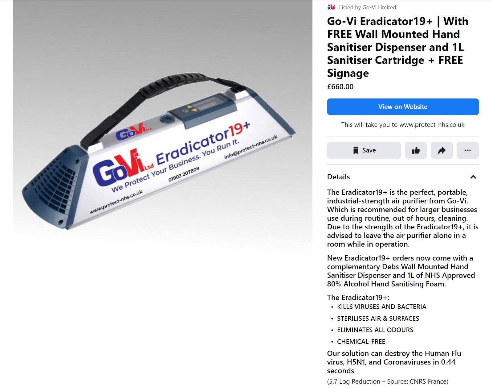 Facebook ad for the Go-Vi Eradicator19