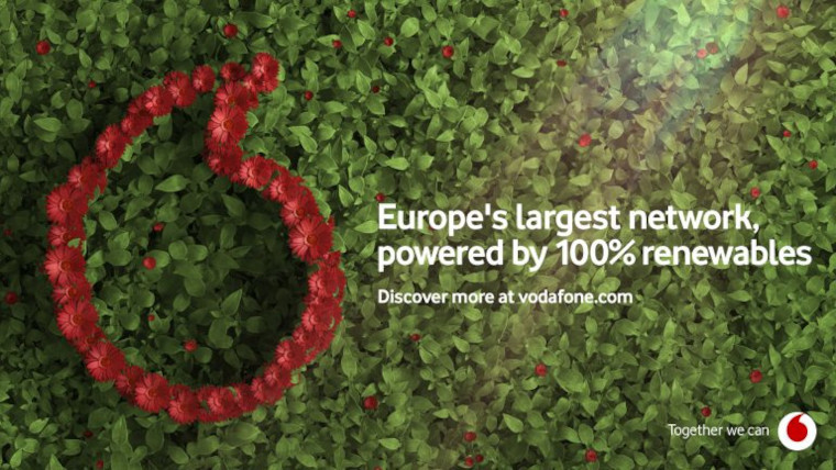 Vodafone graphic that says it uses 100 renewable energy