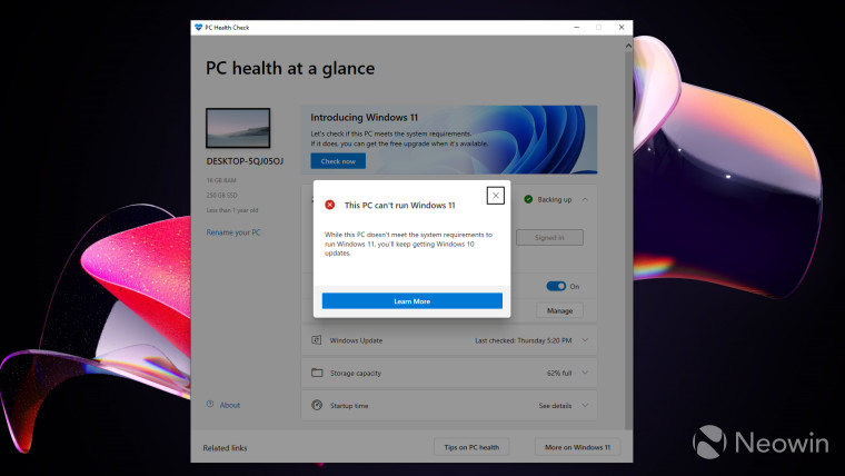 Windows PC Health Check app prompting that the PC cannot be updated to Windows 11