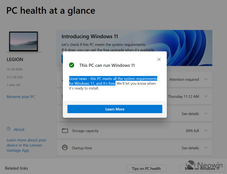 Windows Health check screenshot
