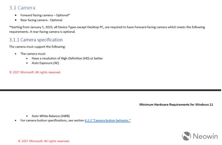 Screenshot of Windows 11 minimum system requirements
