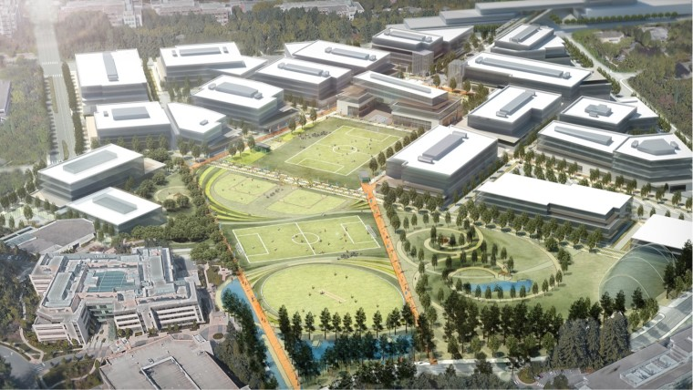Overview of an artistic representation of green Redmond Microsoft campus