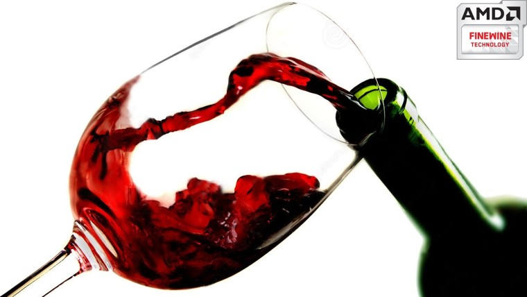 Pouring red wine into a glass with an AMD FIneWine logo on the top right corner