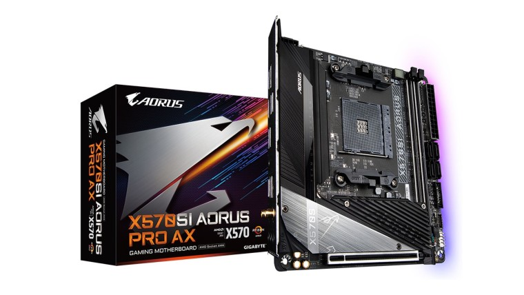 Gigabyte Aorus X570S mini-ITX motherboard and packaging