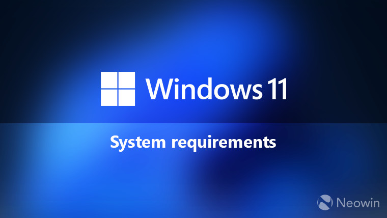 Windows 11 system requirements in white on blue background