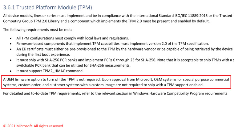 WIndows 11 TPM requirement is relaxed for special PCs