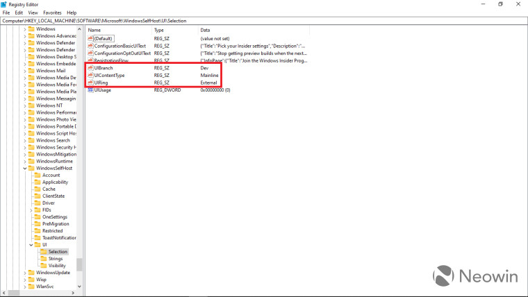 Screenshot of Registry Editor