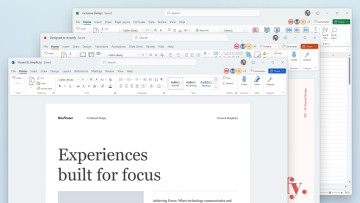 Microsoft Office apps with refreshed UI sporting rounded corners and new color palette
