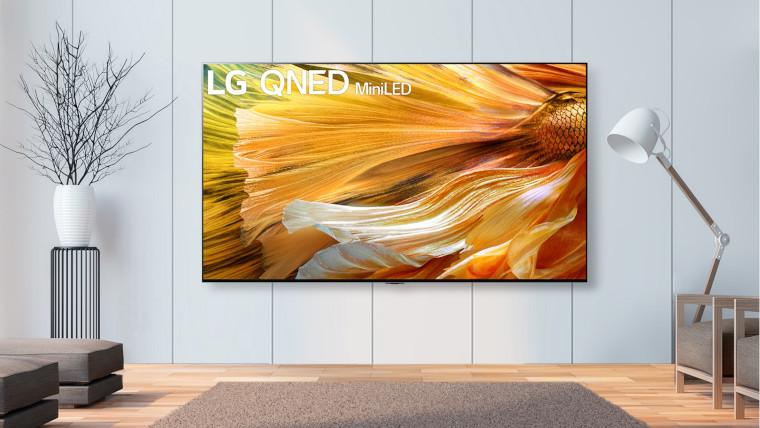 An LG TV on a wall