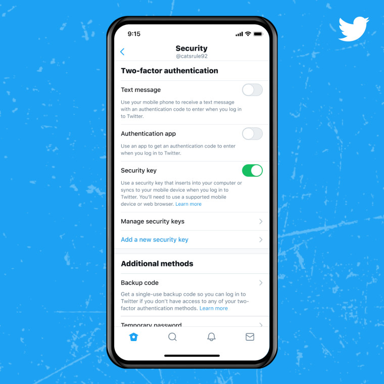 Twitter security settings page showing various 2FA options