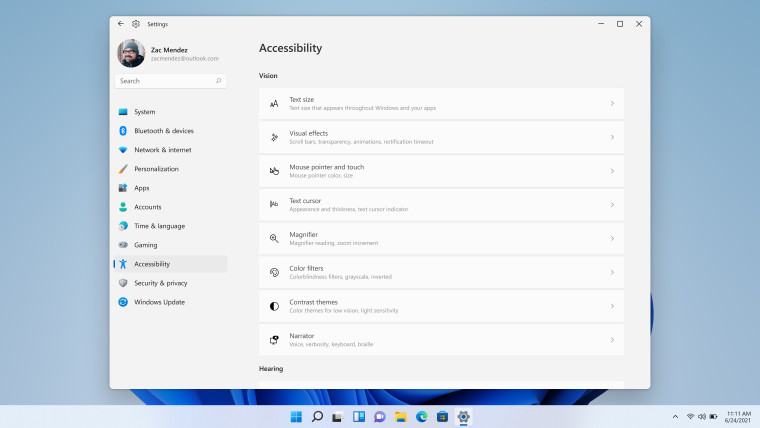 Accessibility settings in Windows 11