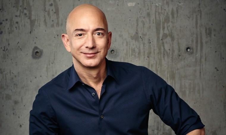 Portrait of Jeff Bezos in black long sleeve polo
