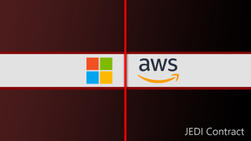 Microsoft and AWS logos with a red line placed between them and JEDI contract written at the bottom