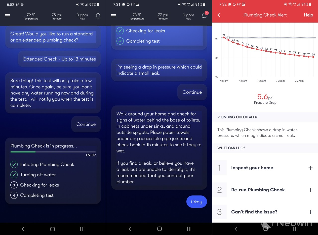 Three screenshots showing the water pressure check in the Phyn Plus app